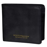 Scotch And Soda Leather Flip Open Wallet Black