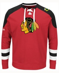 Majestic Men's Chicago Blackhawks Centre Long Sleeve Jersey Shirt Red Black