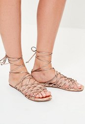 Missguided Rose Gold Knotted Gladiator Sandals Pink