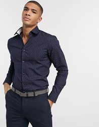 Selected Homme Organic Cotton Printed Shirt In Navy