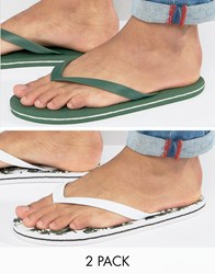 Asos Flip Flops 2 Pack In Green And Palm Tree Print Save Multi