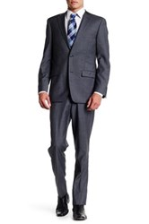 Ike Behar Charcoal Sharkskin Two Button Notch Lapel Wool Suit Gray