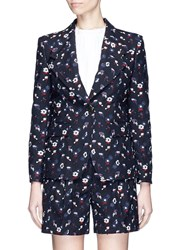 Thom Browne Poppy Floral Embroidered Wool Blazer Multi Colour