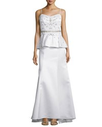 Sue Wong Sleeveless Peplum Waist Embellished Gown White