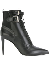 Sergio Rossi Lace Up High Heel Boots Black