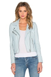 Doma Biker Leather Jacket Baby Blue