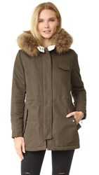 Doma Fur Trimmed Hooded Parka Army Green