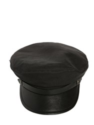 Dsquared Wool Blend Hat W Leather Details Black