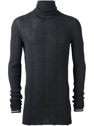 Lanvin Irregular Ribs Turtle Neck Sweater Grey