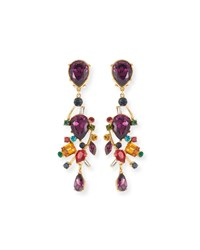Jose And Maria Barrera Large Multicolor Stone Clip On Drop Earrings