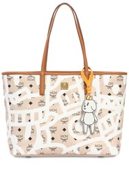 Mcm Medium Eddie King Faux Leather Tote Bag Beige