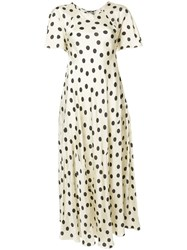 Hache Polka Dot Maxi Dress Nude And Neutrals