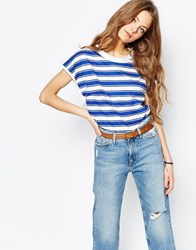 Mih Jeans M.I.H. Jeans Striped High Neck T Shirt Blue