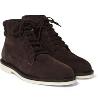 Loro Piana Icer Walk Cashmere Trimmed Suede Boots Brown