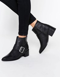Asos Rally Leather Buckle Ankle Boots Black Leather