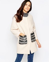 Jovonna Assis Coat With Metallic Pockets Cream