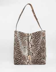 Oasis Reversible Hobo Bag With Removable Inner Natural Snake Multi