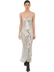Paco Rabanne Long Round Sequined Mesh Dress Silver