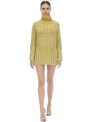 Ermanno Scervino Embellished Wool Knit Mini Dress Yellow