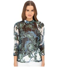 Just Cavalli Ikebana Ray Chiffon High Collar Top Absinth Women's Blouse Blue