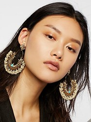 Free People Turquoise Pearl Hoops By