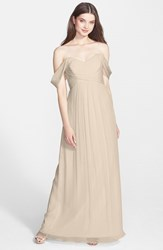 Women's Amsale Crinkled Silk Chiffon Gown Champagne