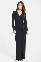 Women's Lauren Ralph Lauren Long Sleeve Surplice Jersey Gown Black