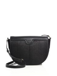 Agnona Cacciatora Leather And Lizard Saddle Bag Black