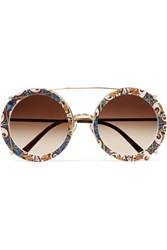 Dolce And Gabbana Round Frame Printed Acetate Gold Tone Convertible Sunglasses One Size Gbp