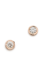Gabriela Artigas Bezel Stud Earrings White Rose Gold