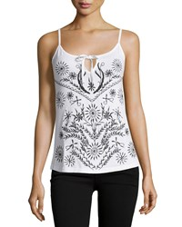 Design History Embroidered Tie Front Tank White Onyx