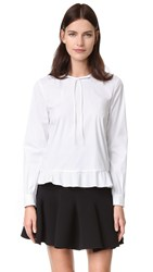 Red Valentino Ruffle Hem Tie Neck Blouse White