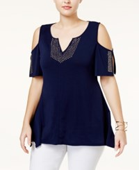 Belldini Plus Size Studded Cold Shoulder Top Navy
