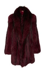 Michael Kors Collection Silver Fox Fur Cape Coat Red