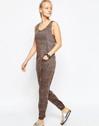 Asos Minimal Jersey Jumpsuit In Space Dye Multi