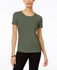 Jm Collection Jacquard T Shirt Only At Macy's Olive Sprig
