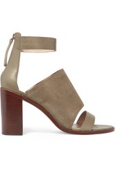 Zimmermann Suede And Leather Sandals Gray Green