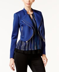Thalia Sodi Double Zip Lapel Moto Jacket Only At Macy's Tartan Blue