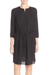 Women's Nydj 'Lauren' Pleat Back Georgette Shirtdress Black