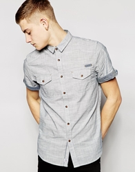Brave Soul Bravesoul Short Sleeve Chambray Shirt Grey