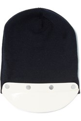 Marni Patent Leather Trimmed Wool Beanie Blue
