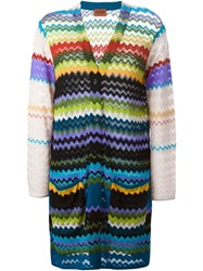 Missoni Long Woven Cardigan Yellow And Orange