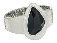 The Sak Large Stone Hinged Bracelet Black Silver Bracelet