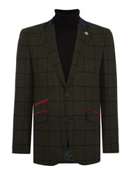 Simon Carter Men's Window Pane Check Jacket Olive