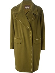 Roberto Cavalli Double Breasted Studded Coat Green