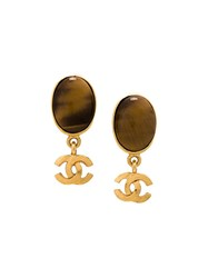 Chanel Vintage Logo Stone Earrings Brown