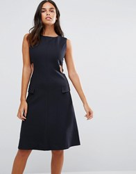 Ymc Cut Away Sides Fitted Dress Navy
