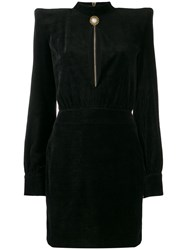 Balmain High Neck Velvet Dress Black