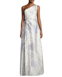 Kay Unger New York Floral Print One Shoulder Gown Light Green