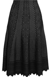 Alexander Mcqueen Pointelle Knit Midi Skirt Black